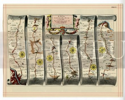 OGILBY Strip Map London To Rye, Andover To Bridgwater